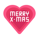 christmas, heart, love, merry, message icon