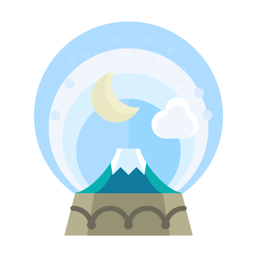 christmas, cloud, decorate, decoration, moon, mountain, snowglobe icon