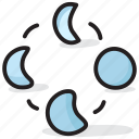 crescent, full moon, lunar phases, half moon, moon phases icon