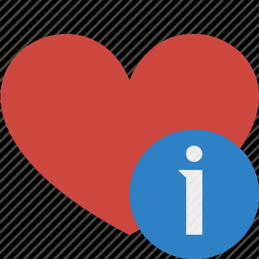 favorites, heart, information, love, valentine icon