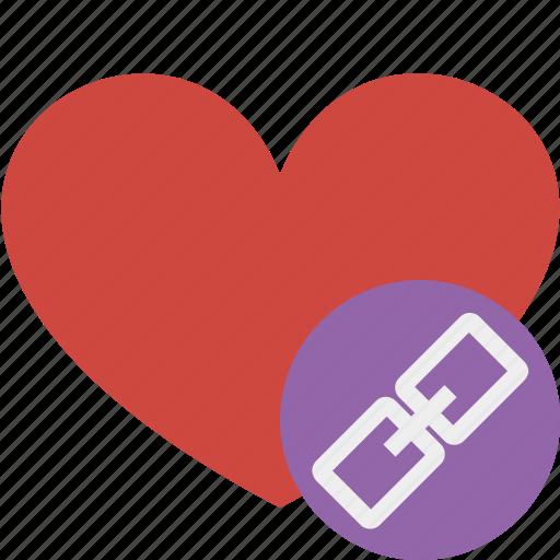 favorites, heart, link, love, valentine icon
