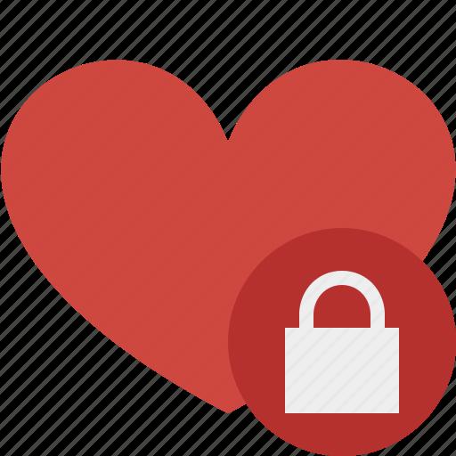 favorites, heart, lock, love, valentine icon