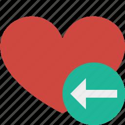 favorites, heart, love, previous, valentine icon