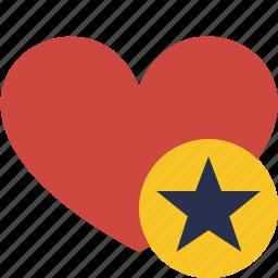 favorites, heart, love, star, valentine icon