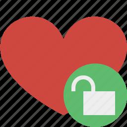 favorites, heart, love, unlock, valentine icon