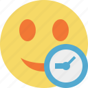 clock, emoticon, emotion, face, smile icon