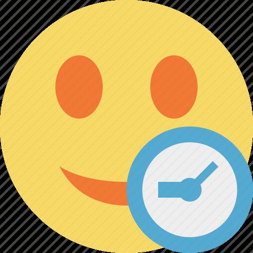 clock, emoticon, emotion, face, smile icon