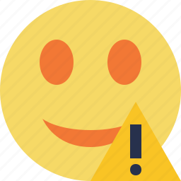 emoticon, emotion, face, smile, warning icon