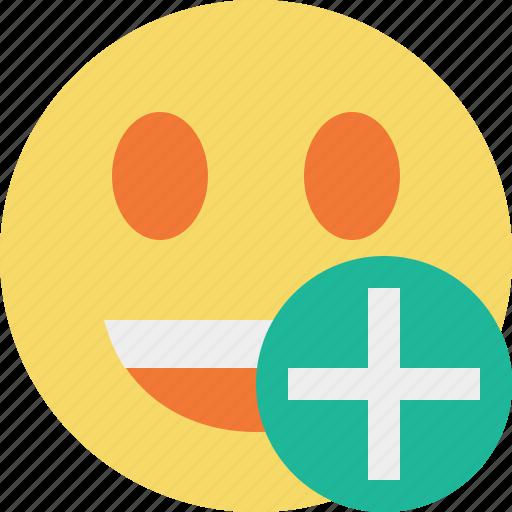 add, emoticon, emotion, face, laugh, smile icon