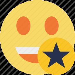 emoticon, emotion, face, laugh, smile, star icon