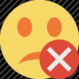 cancel, emoticon, emotion, face, smile, unhappy icon