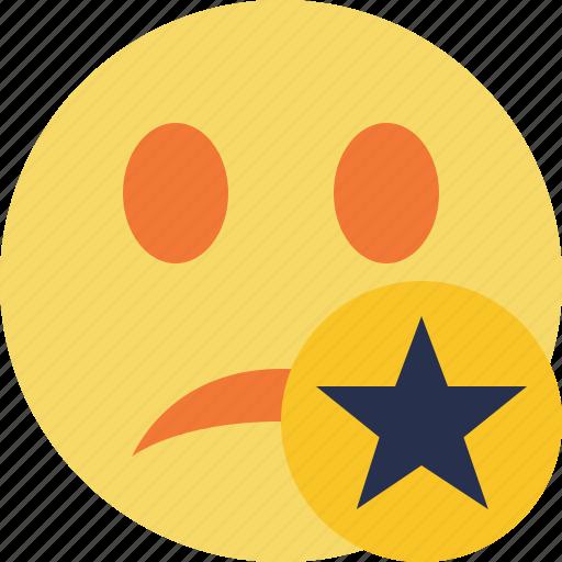 emoticon, emotion, face, smile, star, unhappy icon