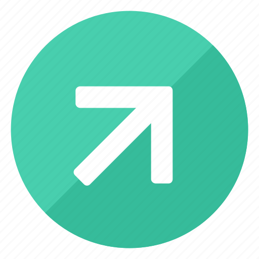 direction, green, increase, navigation, pointer, trend, up icon