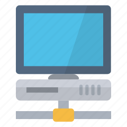 computer, connected, desk, device, internet, network, screen icon