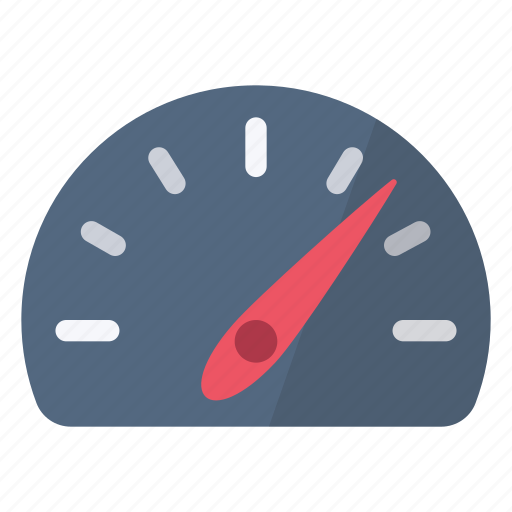 arrow, dashboard, indicator, red, sign, speed, speedometer icon