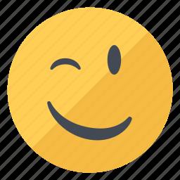 emoji, emoticon, emotion, expression, friendly, smiley, wink icon
