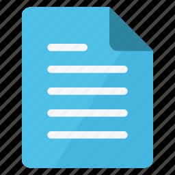 cyan, document, file, paper, portrait, sheet, text icon
