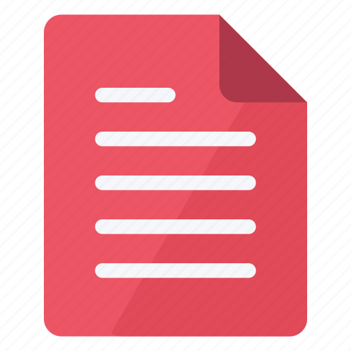 document, file, paper, portrait, red, sheet, text icon