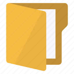 document, folder, open, vertical icon