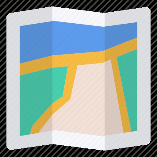 location, map, river, road icon