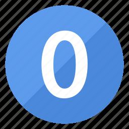 blue, circle, circular, number, round, zero icon