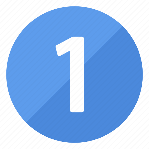 blue, circle, circular, number, one, round icon