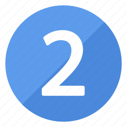 blue, circle, circular, number, round, two icon