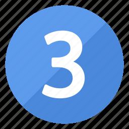 blue, circle, circular, number, round, three icon