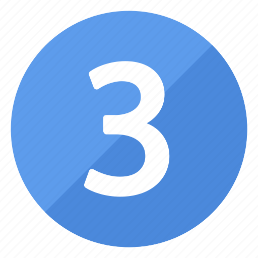 blue, circle, circular, number, round, three icon