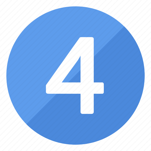 blue, circle, circular, four, number, round icon