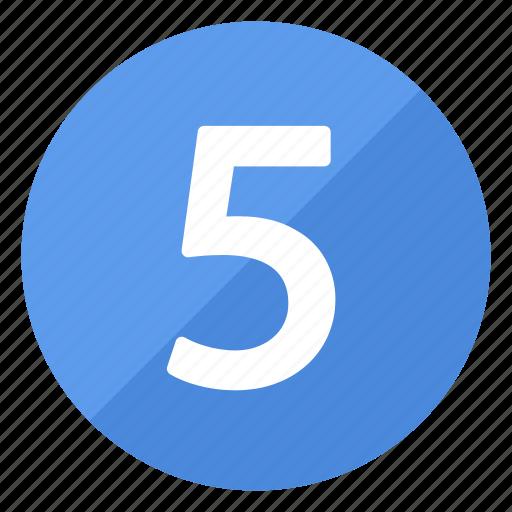 blue, circle, circular, five, number, round icon