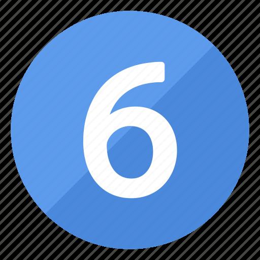 blue, circle, circular, number, round, six icon