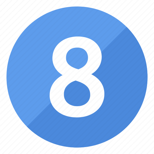 blue, circle, circular, eight, number, round icon