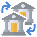 accounts, bank, exchange, money icon