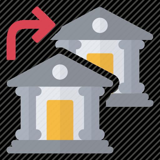 bank, flow, money, transfer icon