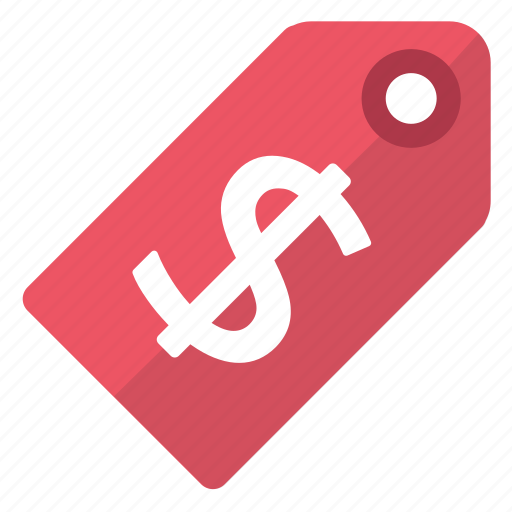 dollar, price, red, tag icon