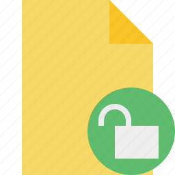 blank, document, file, page, unlock icon