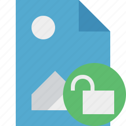 document, file, image, picture, unlock icon