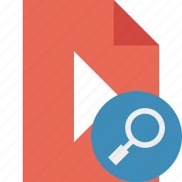document, file, movie, play, search, video icon