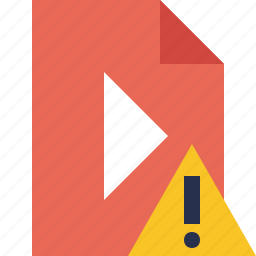 document, file, movie, play, video, warning icon