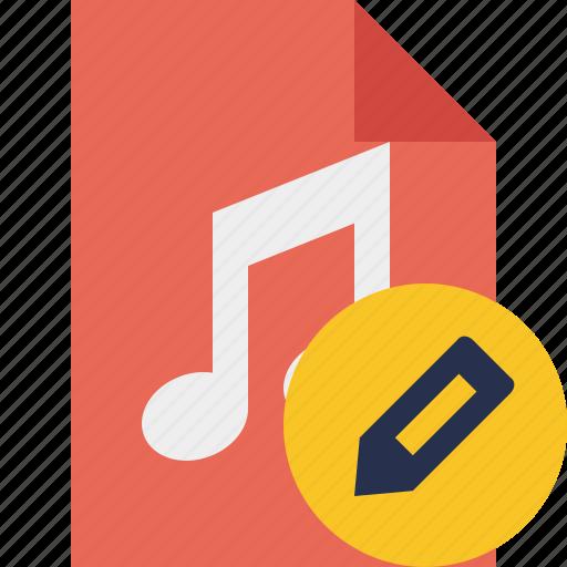 audio, document, edit, file, music icon