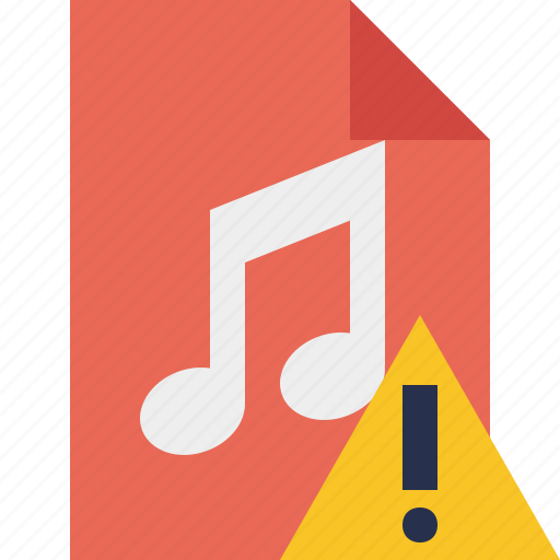 audio, document, file, music, warning icon