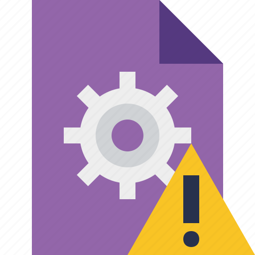 document, file, options, page, settings, warning icon
