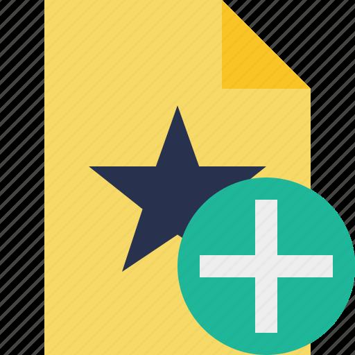 add, document, favorite, file, star icon