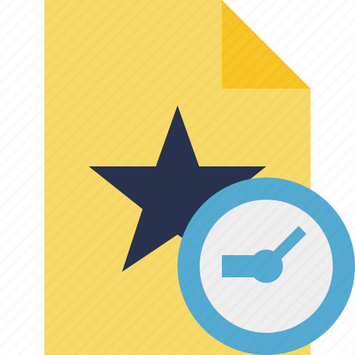 clock, document, favorite, file, star icon