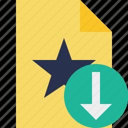 document, download, favorite, file, star icon