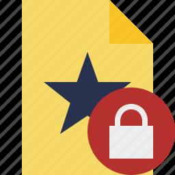 document, favorite, file, lock, star icon
