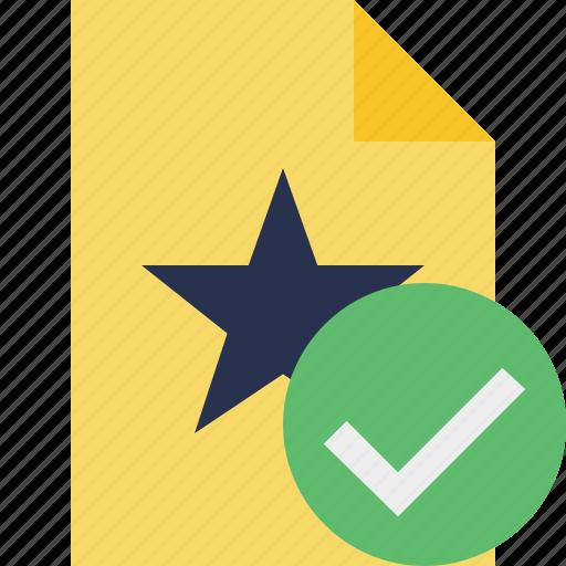 document, favorite, file, ok, star icon