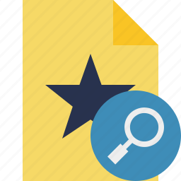 document, favorite, file, search, star icon
