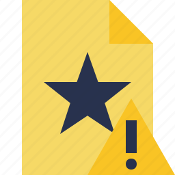 document, favorite, file, star, warning icon